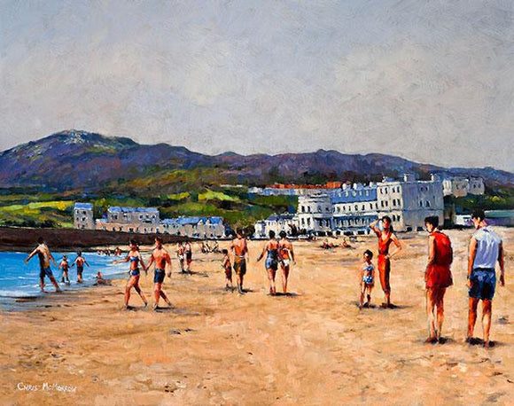 A painting of people at the seaside in Bray, Co Wicklow