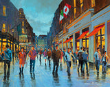 A painting of people strolling on Grafton Street