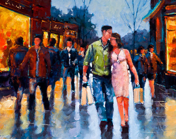 A painting of a young couple out together on a Saturday afternoon shopping