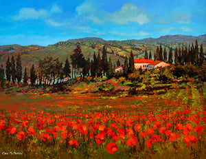 A painting of a field of Poppies in Tuscany, Italy