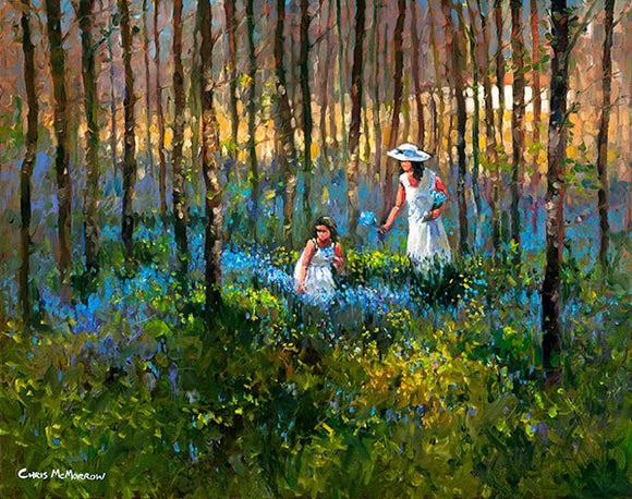 Picking the Bluebells   511A painting of a mother and daughter picking bluebells in the forest