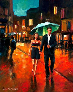A painting of a couple walking under a green umbrella in the city at night