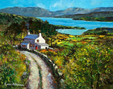 A painting of a cottage by a lake in the West of Ireland