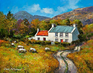A painting of a cottage in a Connemara valley
