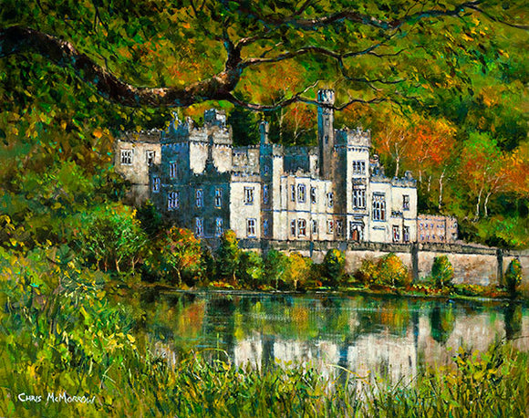 A painting of the Abbey at Kylemore , Connemara