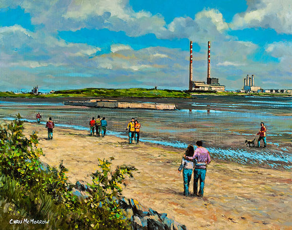 Out for a Walk, Sandymount  A painting of a couple walking together on the beach at Sandymount, Dublin