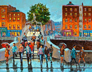 On the HaPenny Bridge   520A painting of people on the HaPenny bridge, Dublin