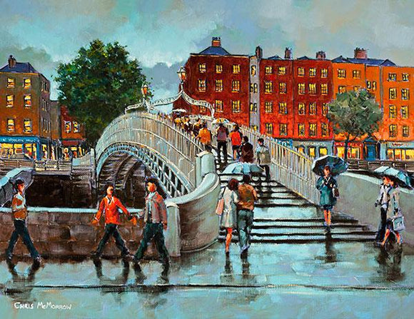 A painting of the Halfpenny Bridge, Dublin city
