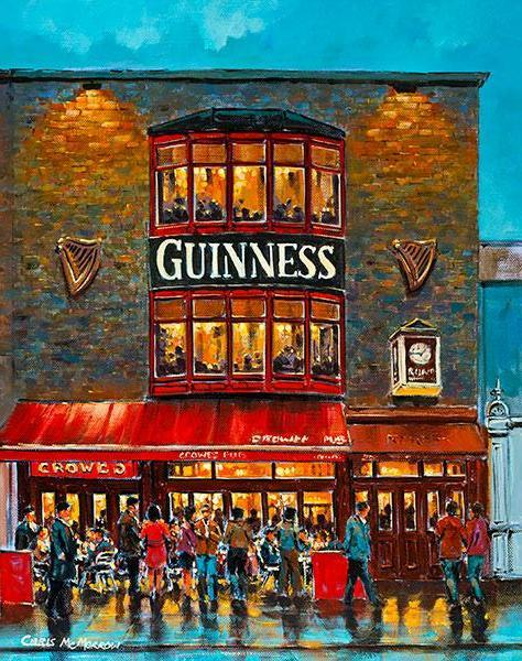A painting of Crowe's Pub in Ballsbridge,Dublin