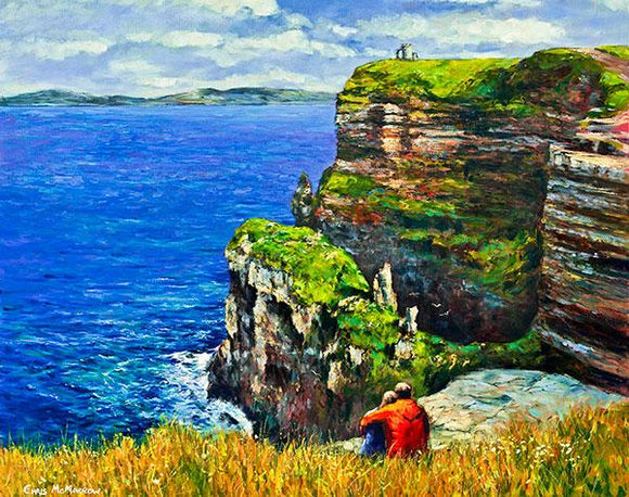 A painting of a couple sitting looking out to sea at the Cliffs of Moher