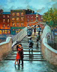 A painting of a couple embracing and kissing  at the steps of the Halfpenny Bridge, Dublin