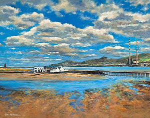 A painting of the Bull Wall, Dollymount, Dublin showing the lagoon and wooden bridge.