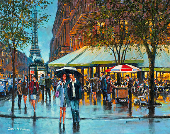 A painting of a typical busy Paris street in the early evening.