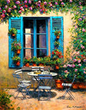 A colourful painting of an outdoor setting in the garden of the House with the Blue Shutters in Provence, France ….. the laden table awaits the guests for an afternoon aperitif ….