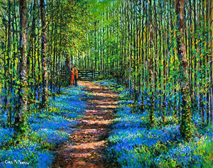 A tranquil painting of a couple embracing as they take a romantic walk in a forest of bluebells.
