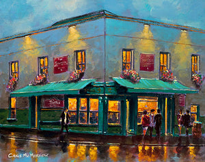 A painting of O'Briens Pub, Leeson Street, Dublin