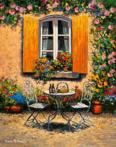 A painting of a laden table outside a window with yellow shutters in Provence, France