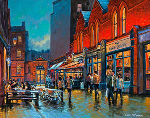 A vivid painting of reflections in the evening light on Castlemarket, Dublin