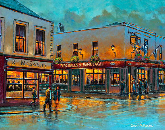 A painting of McSorleys and Birchalls public houses in Ranelagh, Dublin