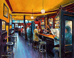 A painting of the inside of Kehoe's Pub on South Anne Street, Dublin in the early afternoon