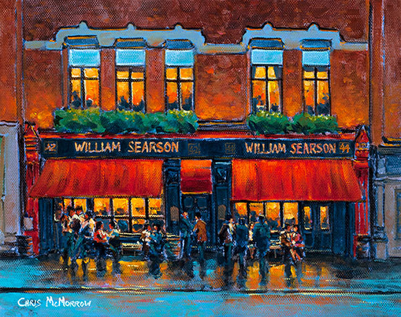 A painting of Searsons Pub Baggot Street, Dublin