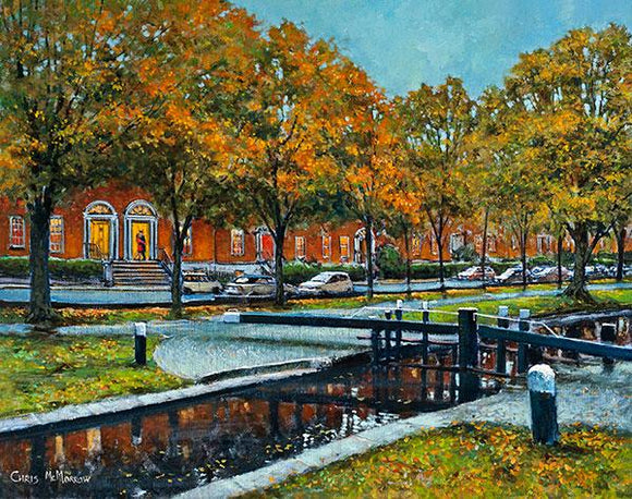 Painting of a couple embracing on the steps by the Grand Canal, Dublin. It's early autumn and the trees and Georgian houses are reflected in the still waters of the canal.
