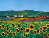 A vivid acrylic painting of yellow sunflowers in an Italian landscape