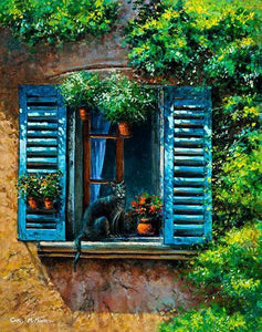 Painting of a cat sitting in the sunshine on a blue shuttered windowsill in Provence, France