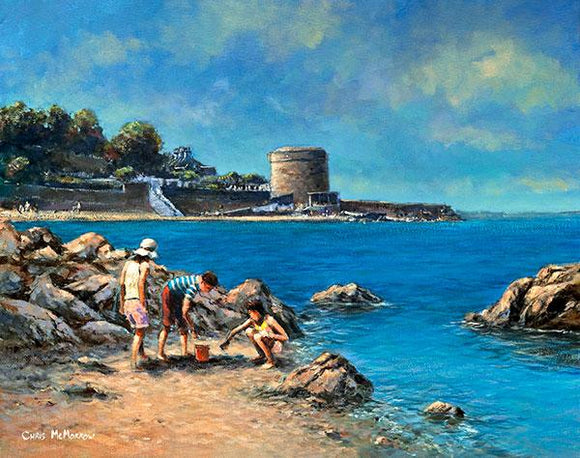 A painting of children collecting shells at Seapoint, Co Dublin