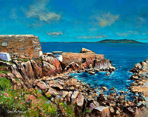 A painting of the Forty Foot Bathing place in Sandycove, County Dublin.
