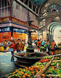 Painting of The English Market featuring a Victorian fountain in Cork city