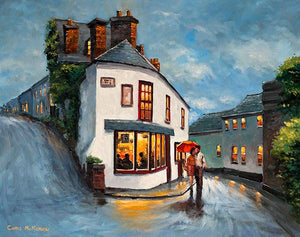 Painting of a romantic couple walking a street in Kinsale, Co Cork