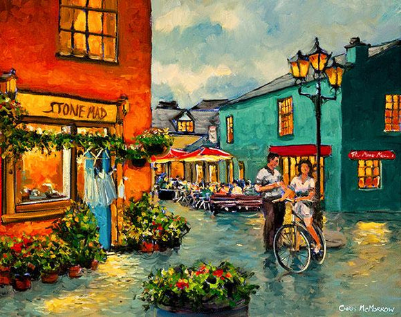 Painting of a chance meeting of a couple at the Milk Market, Kinsale, Co Cork