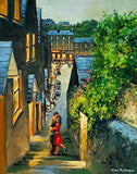 Painting of a couple embracing on the Stoney Steps, Kinsale, Co Cork