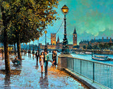 Painting of strollers on the Thames Walk at evening time, near the Houses of Parliament, London, England