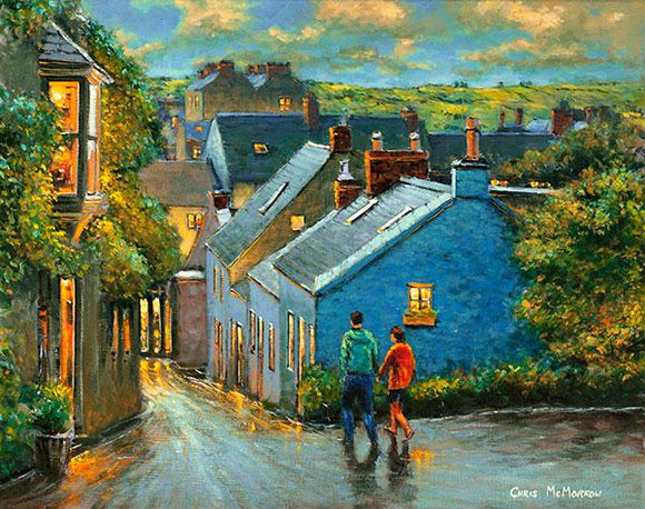 A painting of a couple walking down one of the many little laneways in Kinsale, Co Cork