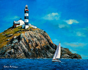 A seascape painting of The Old Head of Kinsale, Cork with lighthouse