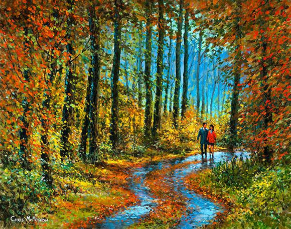 Painting of a couple taking a romantic stroll in the forest, the reds, yellows and gold of autumn on display.