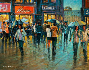 An impressionistic painting of people with umbrellas walking on Grafton Street, Dublin