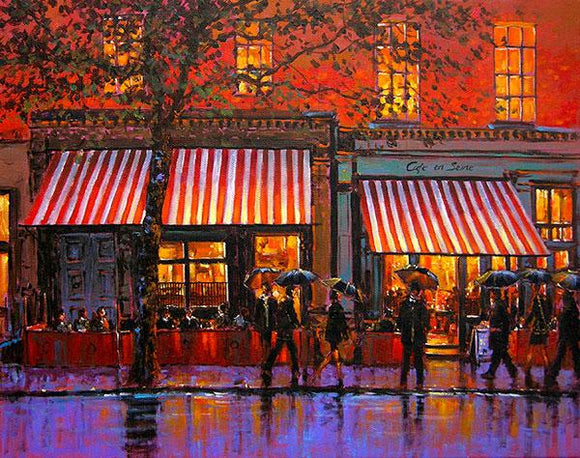 A painting of Cafe en Seine pub on Dawson Street, Dublin