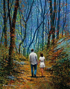 Painting of a couple taking a romantic stroll in the woods