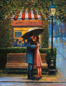 A painting of a couple embracing outside a French cafe
