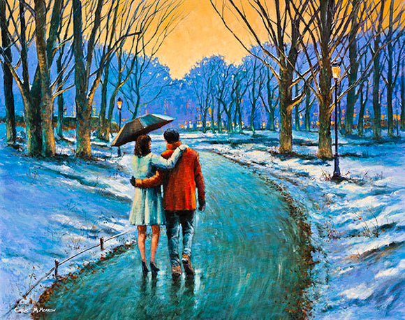A painting of a couple walking in the snow in Stephens Green, Dublin