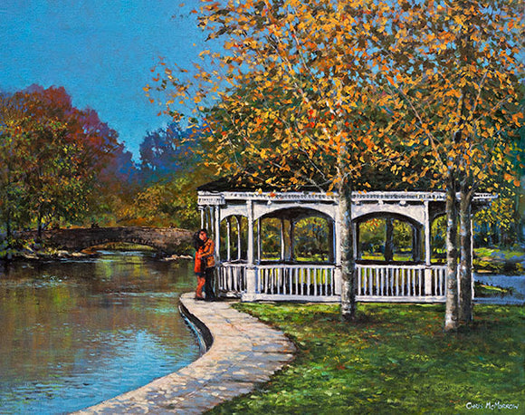 A painting of a couple embracing beside the pond in Stephens Green