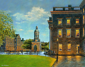 A painting with a view from inside Trinity College, Dublin taking in the Campanile and the cobbled walkways of Parliament Square.