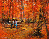 A painting of a couple sitting on a bench in a golden forest