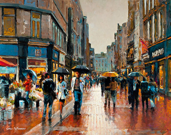 A painting of people walking on Grafton Street , Early Evening
