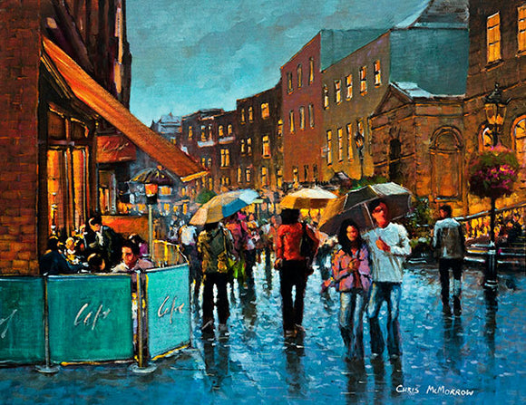 A painting of a busy South William Street