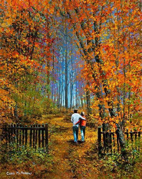 A painting of a couple walking arm in arm in a wood