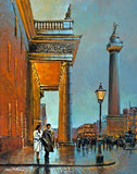 A painting of a couple walking in front of The GPO and Nelsons Pillar, Dublin